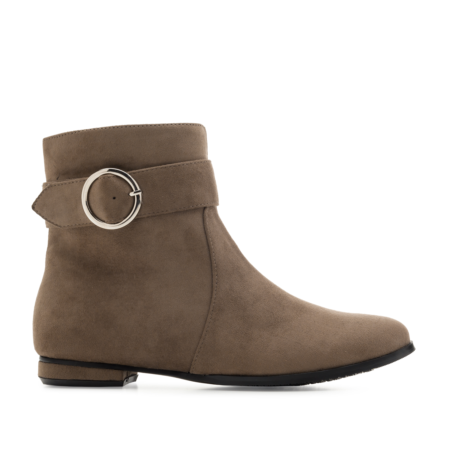 Flat Booties in Earth-coloured Suede