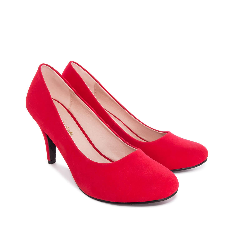 Červené lodičky- syntetická kůže nubuk, podpatek 9,5 cm.