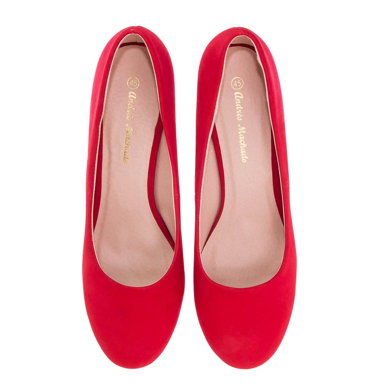 Zapatos de Salón Retro en simil Nobuck Rojo y tacón Fino de 9,5 cm.