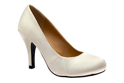 Zapatos de Salón Retro en Saten Perla y tacón Fino de 9,5 cm.