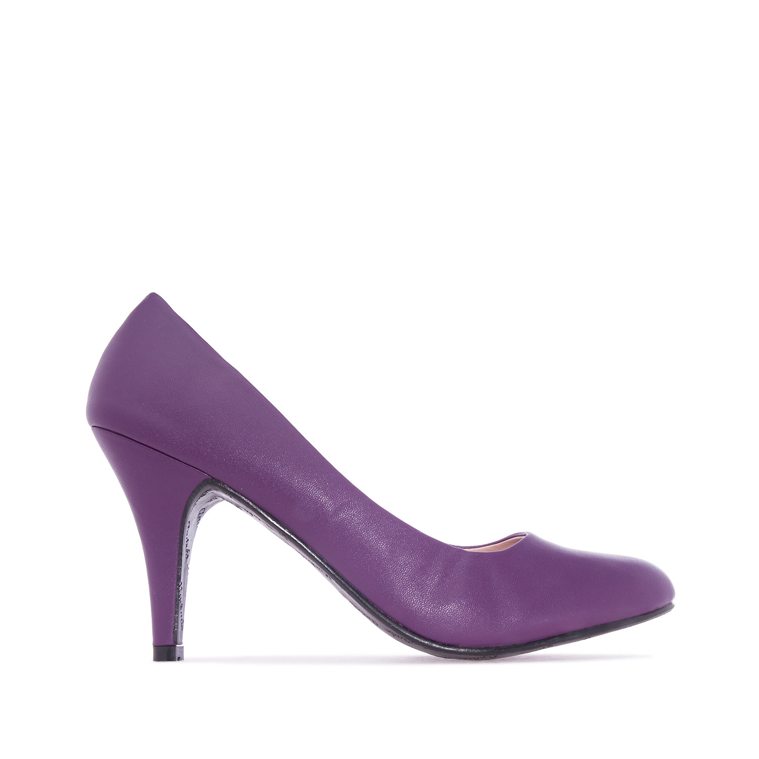 Retro High Heel Pumps in Purple faux Leather