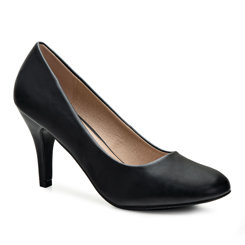 elegante schwarze pumps aus lederimitat damen schuhe. Black Bedroom Furniture Sets. Home Design Ideas