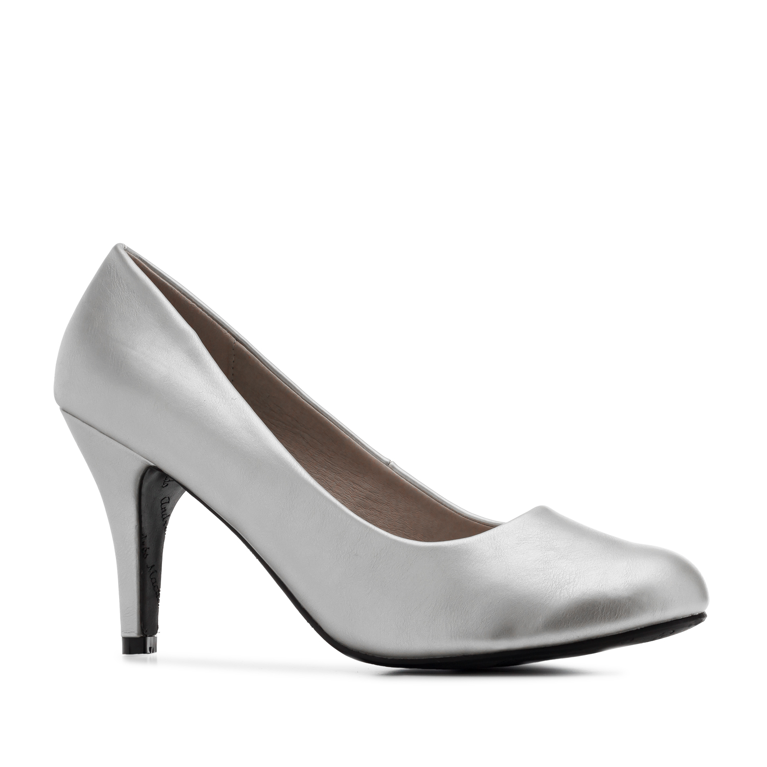 Retro Pumps in Silver faux Soft-Leather