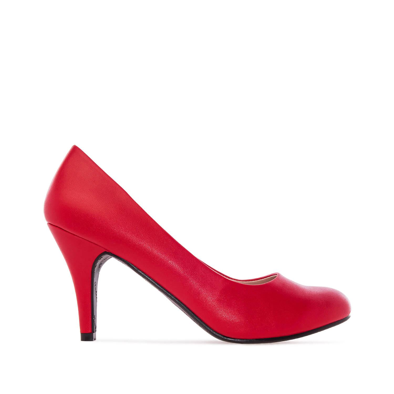 Escarpins Rétro en Soft Rouge et talon de 9,5 cm.