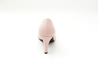 Růžové lodičky se zaoblenou špičkou, styl retro.