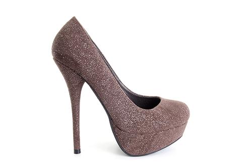 Zapatos en Ante Marron con Brillo y Plataforma.