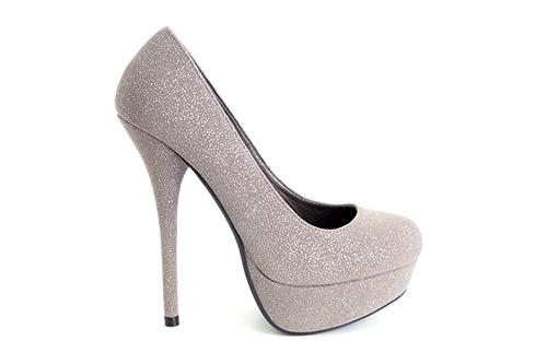 Cipele na platformu sa visokom štiklom, biserno srebrne