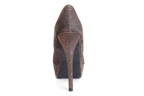 Zapatos en Tejido Brillo Cobre con Plataforma.