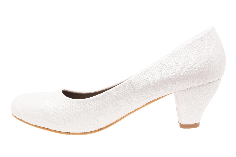 Klasické lodičky na nízkém podpatku. Vzorek krokodýlí kůže bílá.