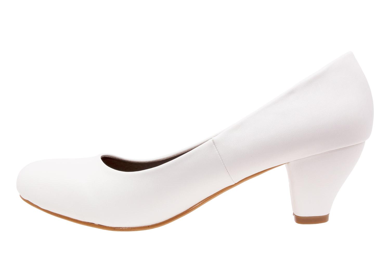 Klasické lodičky na nízkém podpatku. Bílé.