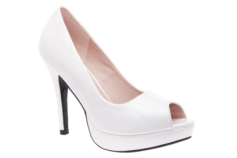 Peep Toes en Charol Blanco y Plataforma