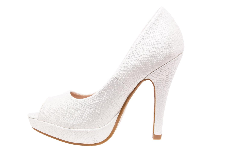 Peep-Toes Gravure Serpent Blanc