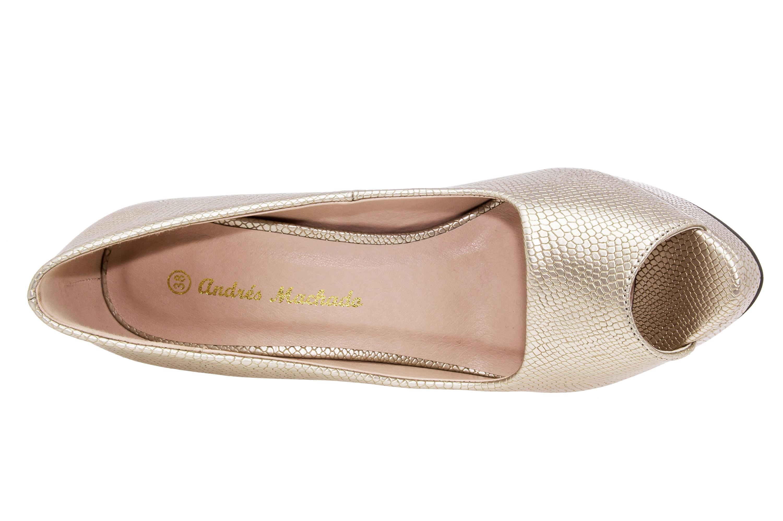 Peep Toes Grabado Oro y Plataforma