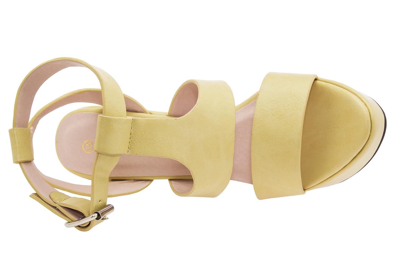 Sandalias con cuña en Soft Amarillo