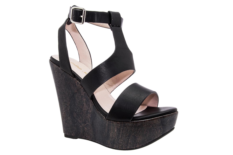 8f5e78083e7 T-bar páskové sandále na vysokém klínu. Černé. - JARO LÉTO 2015 ...