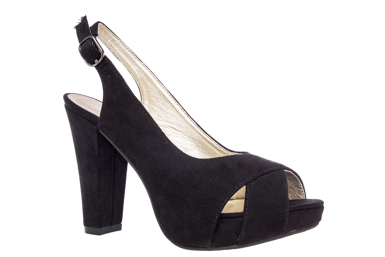 Tyylikäs slingback korokepohja sandaali mustaa mokkajäljitelmää