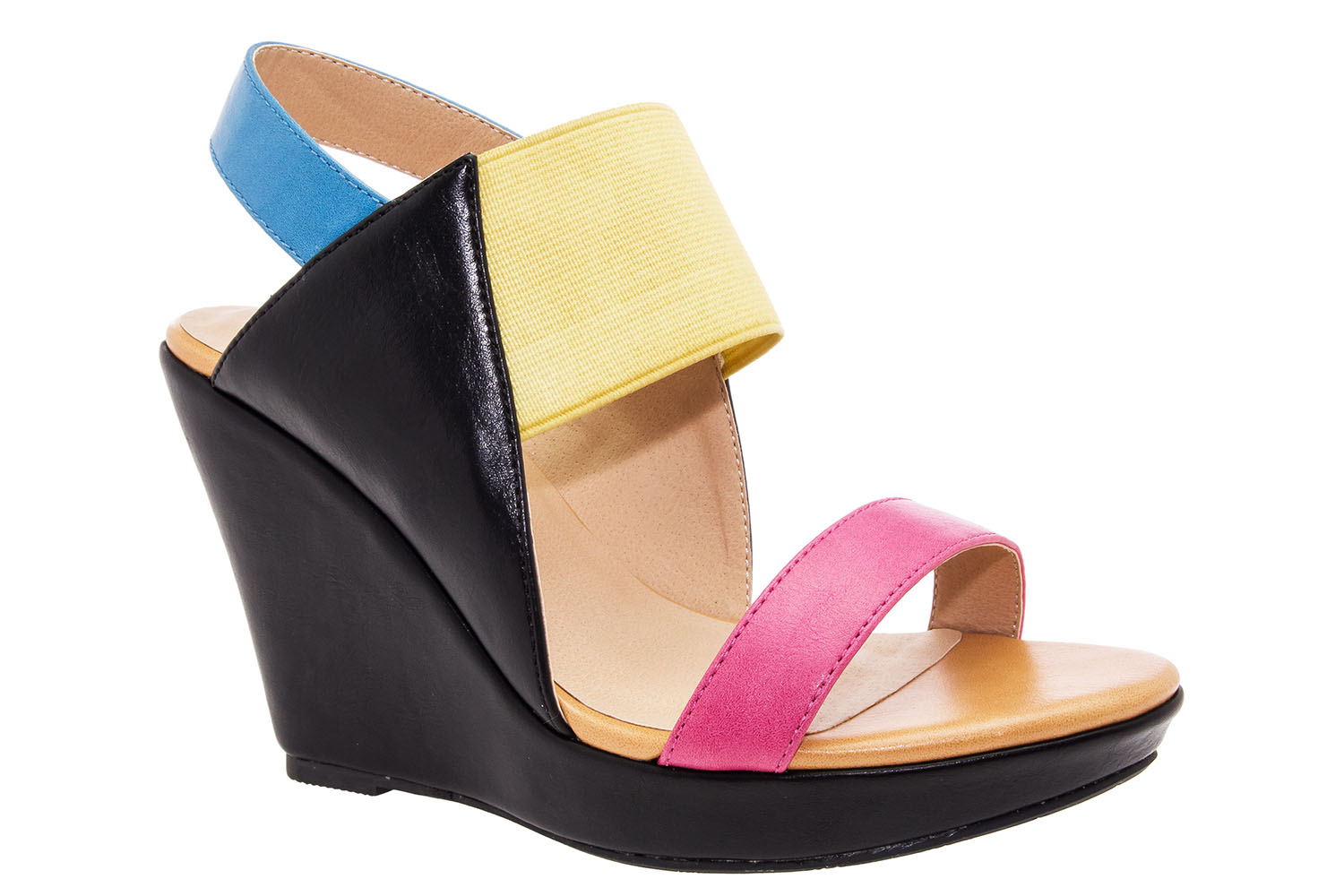 Original Geometrical Multi-coloured faux Leather Wedges