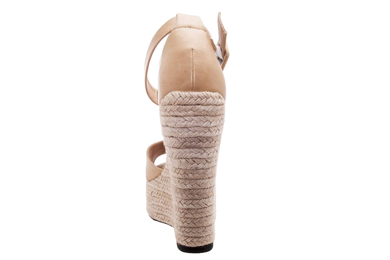 Sandalias en Soft Camel y Cuña de Yute