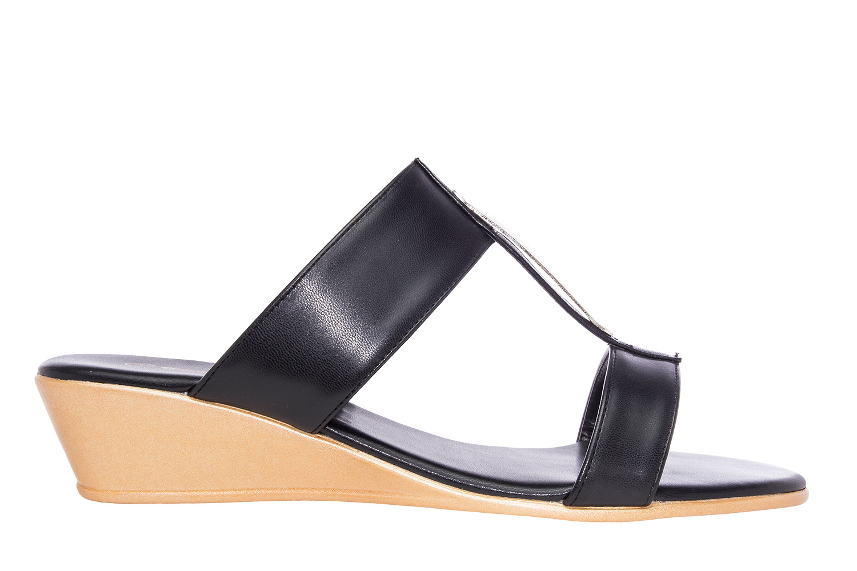 Sandalias Romanas con cuña en Soft Negro