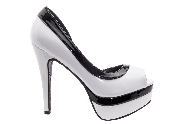 Peep Toes Charol Blanco Negro