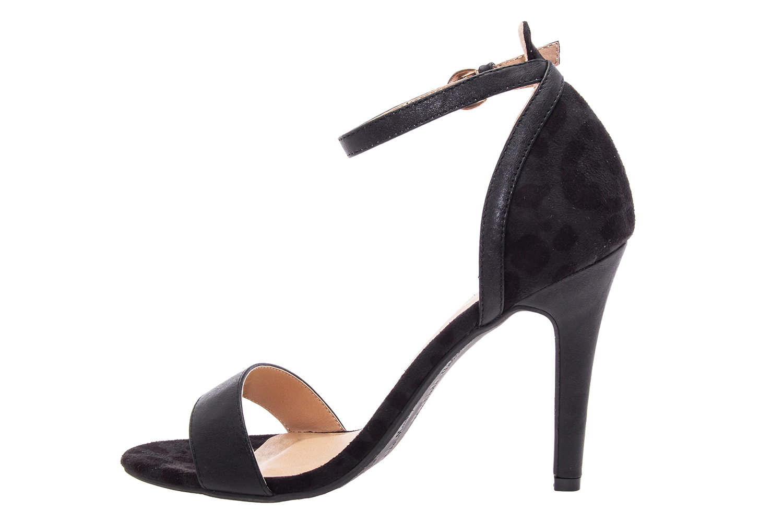 Páskové semišové sandále leopard. Černé.