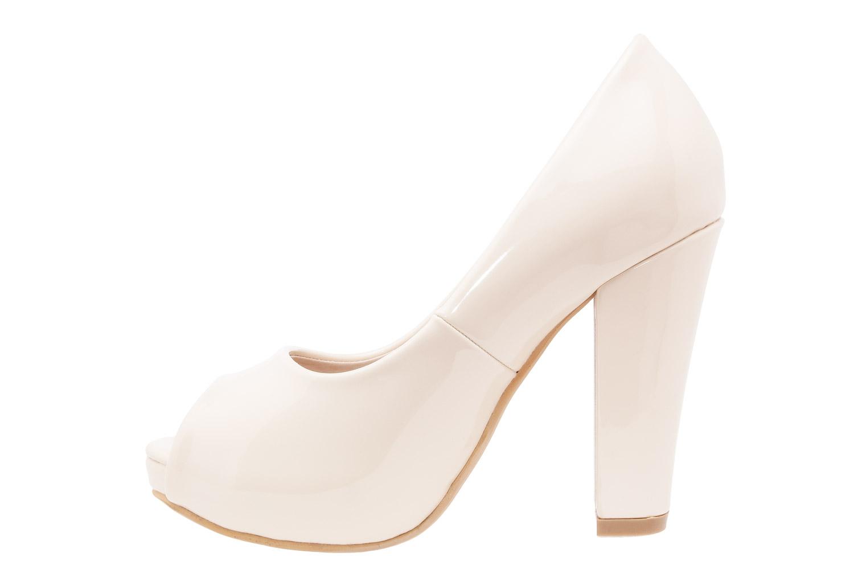 Elegantní lodičky peep toes. Béžové lesklé.