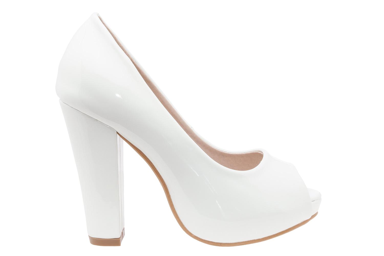 Elegantní lodičky peep toes. Bílé lesklé.