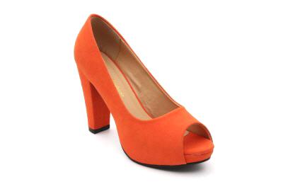 Peep toes en simil Nobuck Naranja