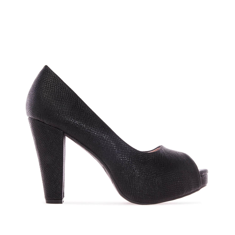Elegantní lodičky peep toes. Černá hadí kůže.