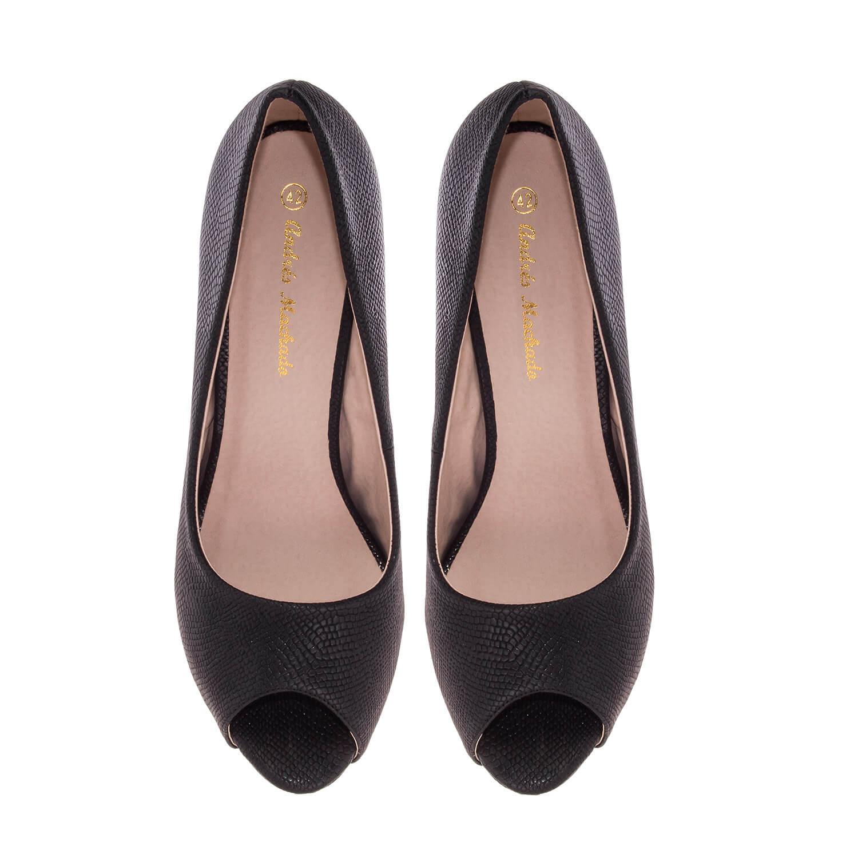 Peep toes en Soft Grabado color Negro.