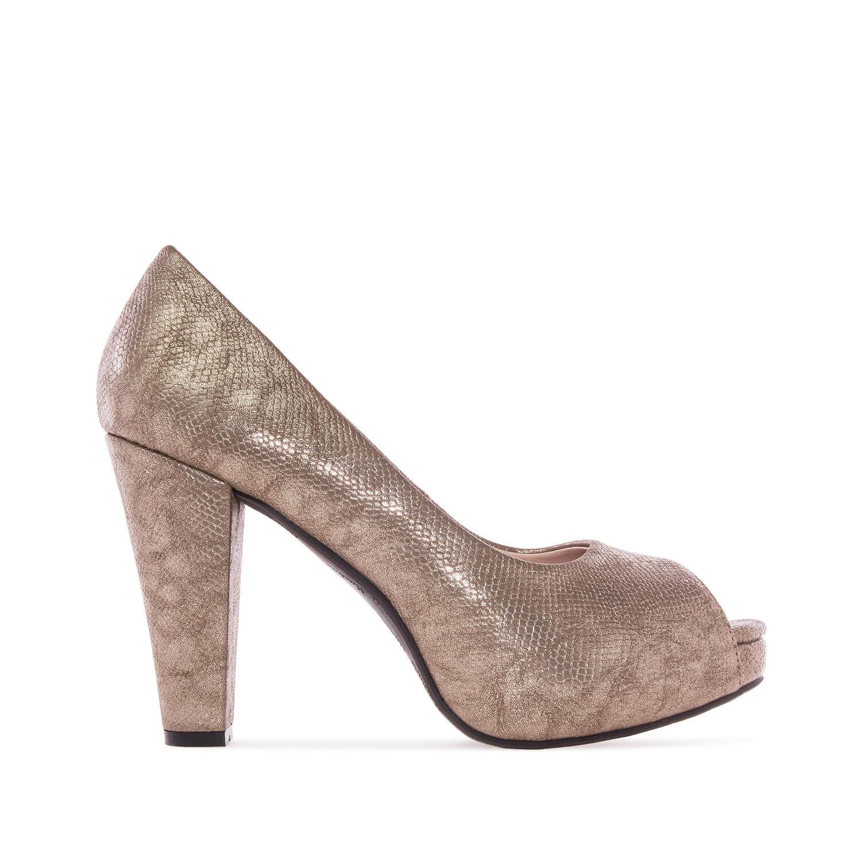 Elegantní lodičky peep toes. Zlatá hadí kůže.