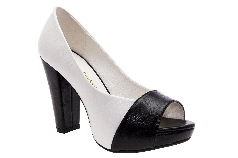 Peep-Toe Combinado Blanco Negro
