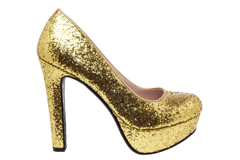 Lodičky flitrované na platformě, barva zlatá