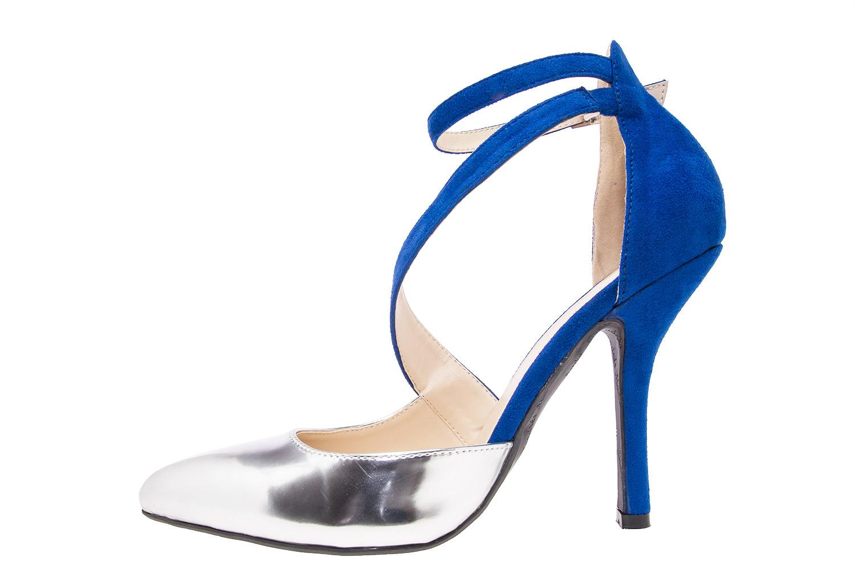 Dvobojne sandale u špic, plavo-srebrne