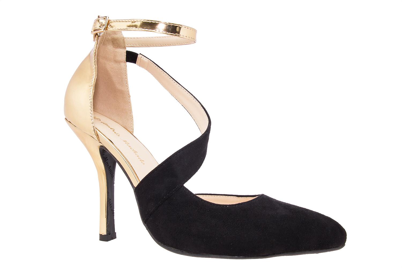 Dvobojne sandale u špic, zlatno-crne