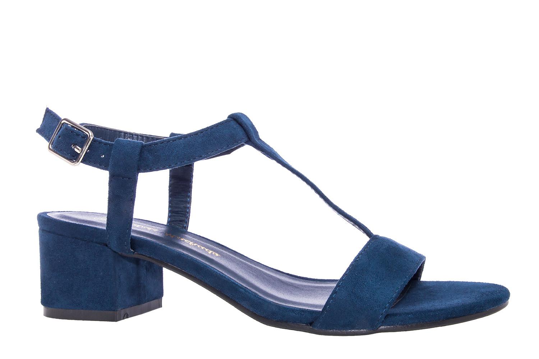 Semišové pantofle s tenkými pásky na nízkém podpatku. Modré ... affda47b3d