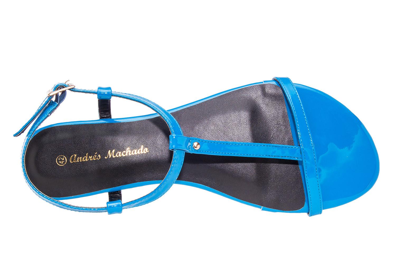 Sandalia T- bar Charol Azulon