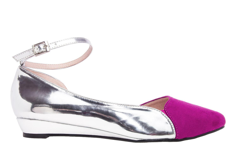 Dvobojne špic baletanke, srebrno-roze