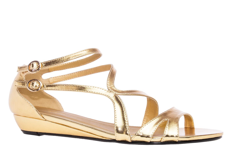 2db37ac3f47 Lesklé elegantní páskové sandále na klínku. Zlaté. - Jaro Léto 2016 ...