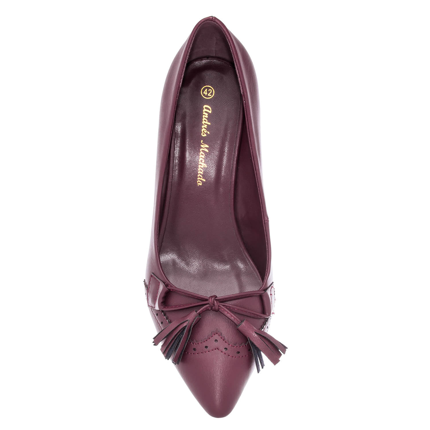 Tassle Pumps in Burgundy faux Leather