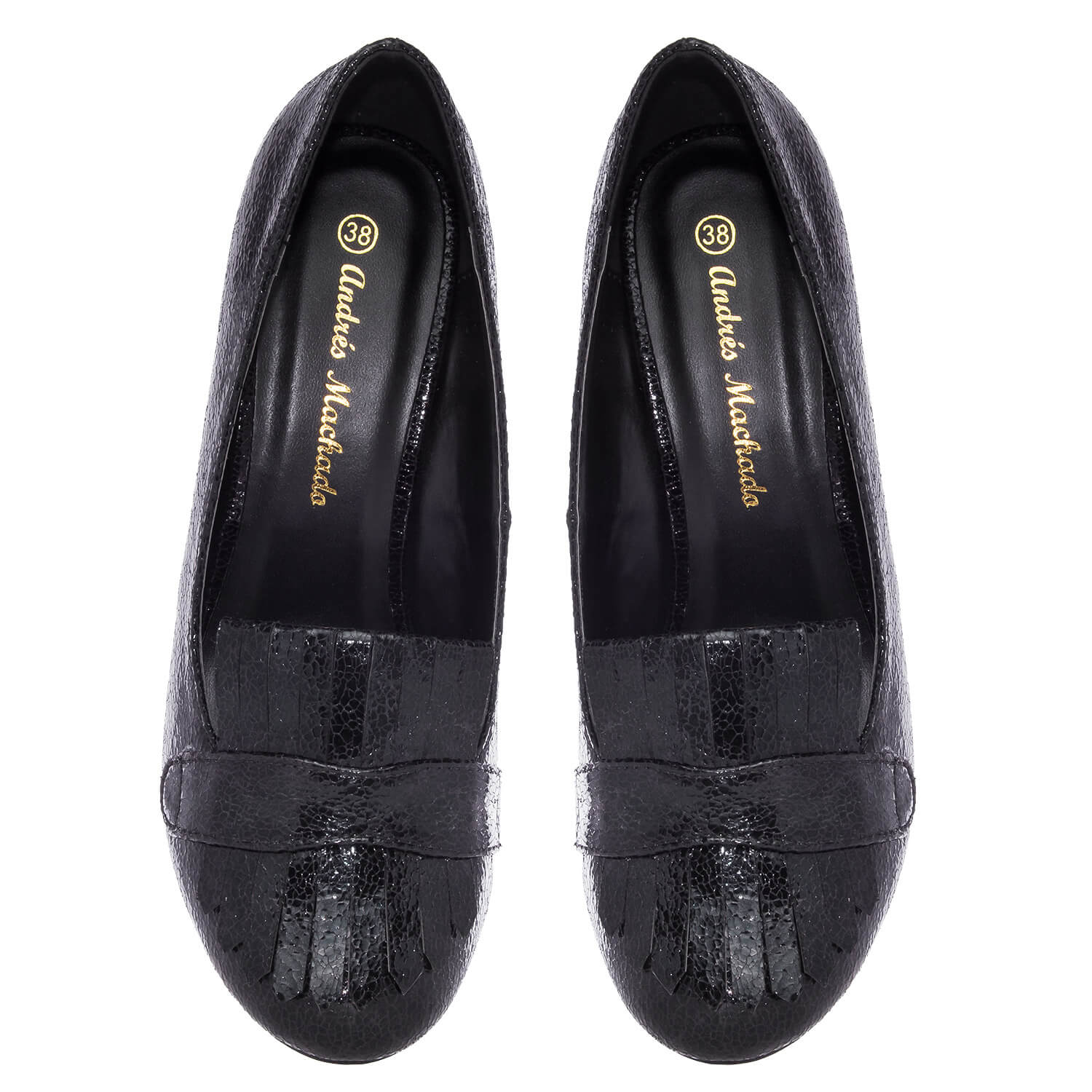 Slipper Pumps in Black Glitter