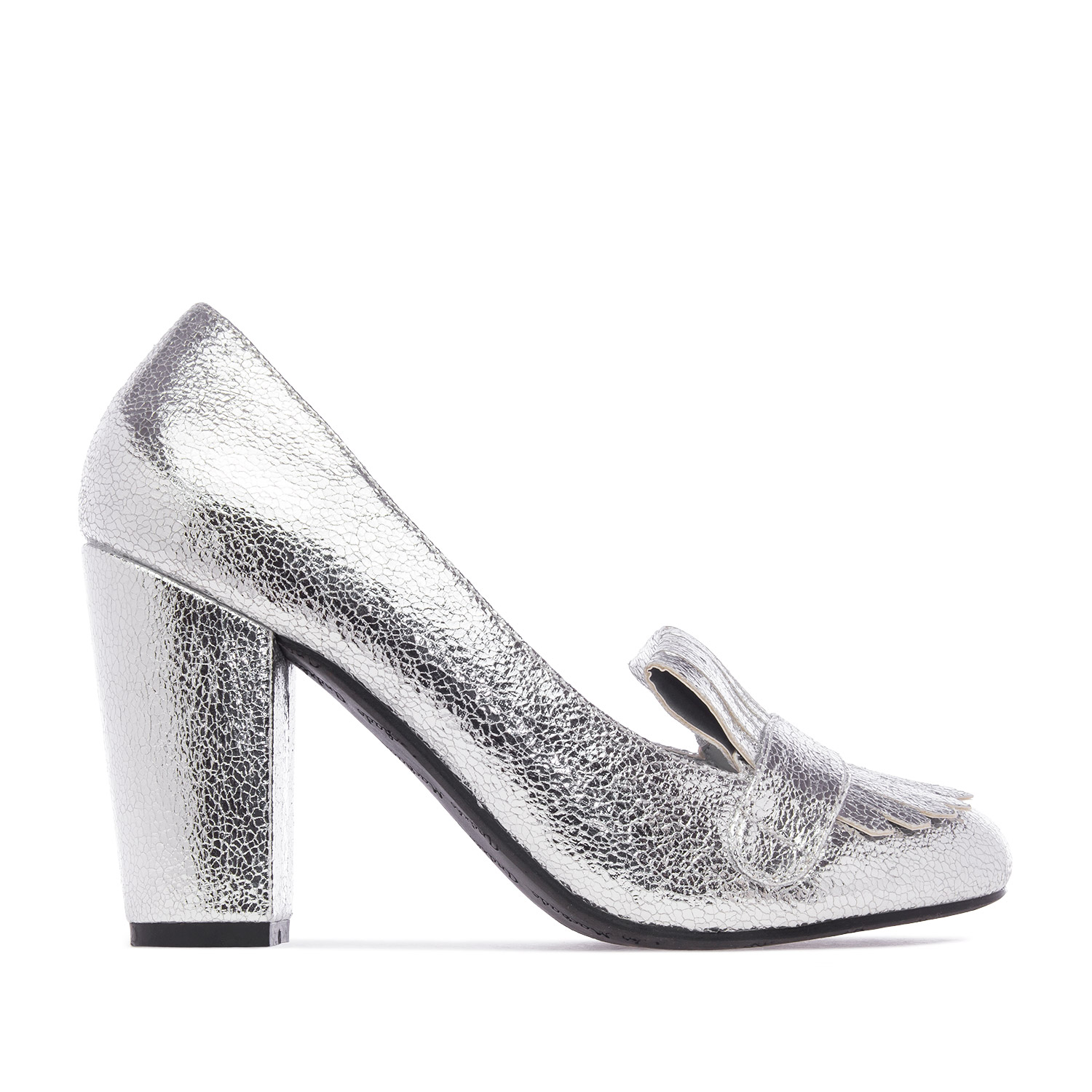 Slipper Pumps in Silver Glitter