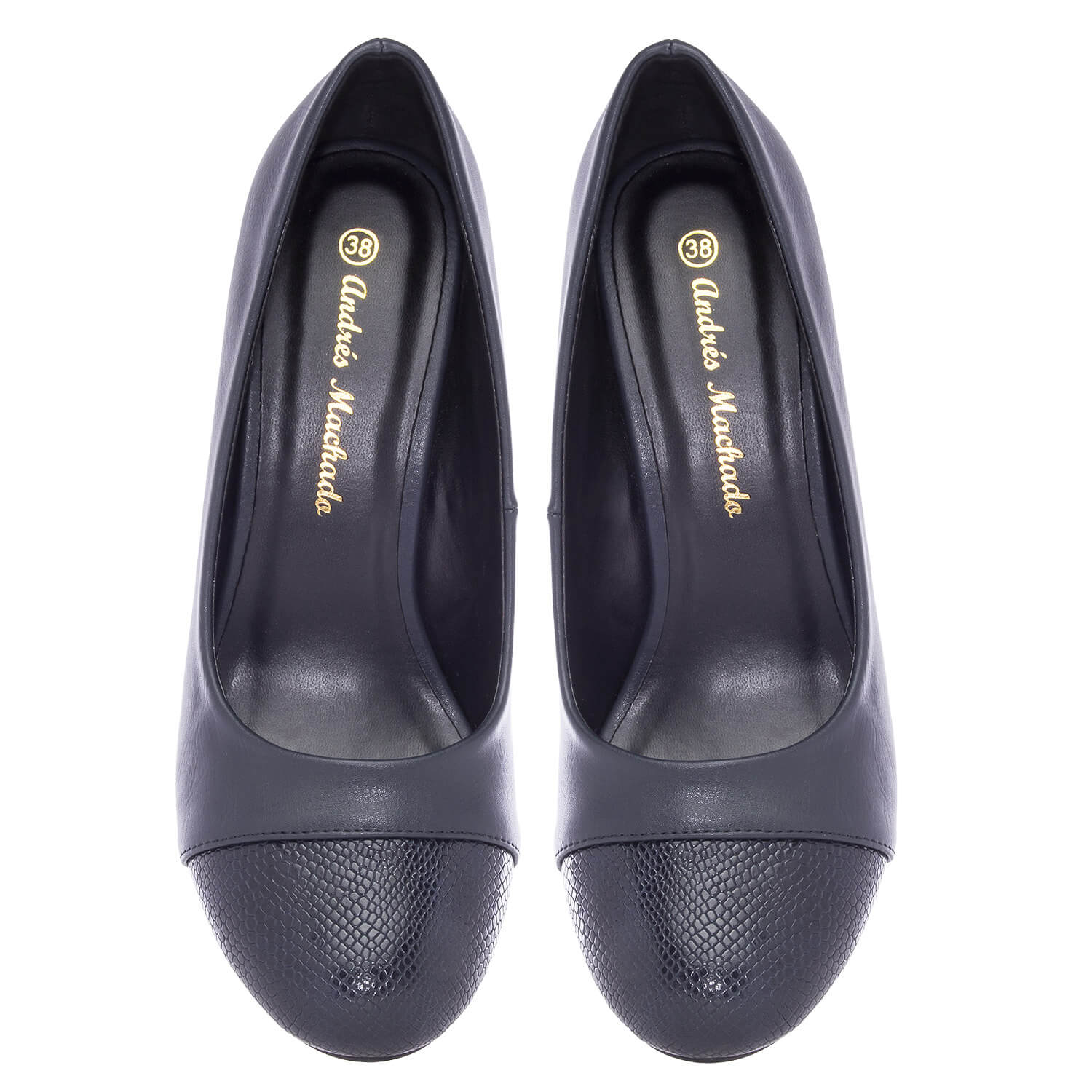 Navy faux Leather Pumps