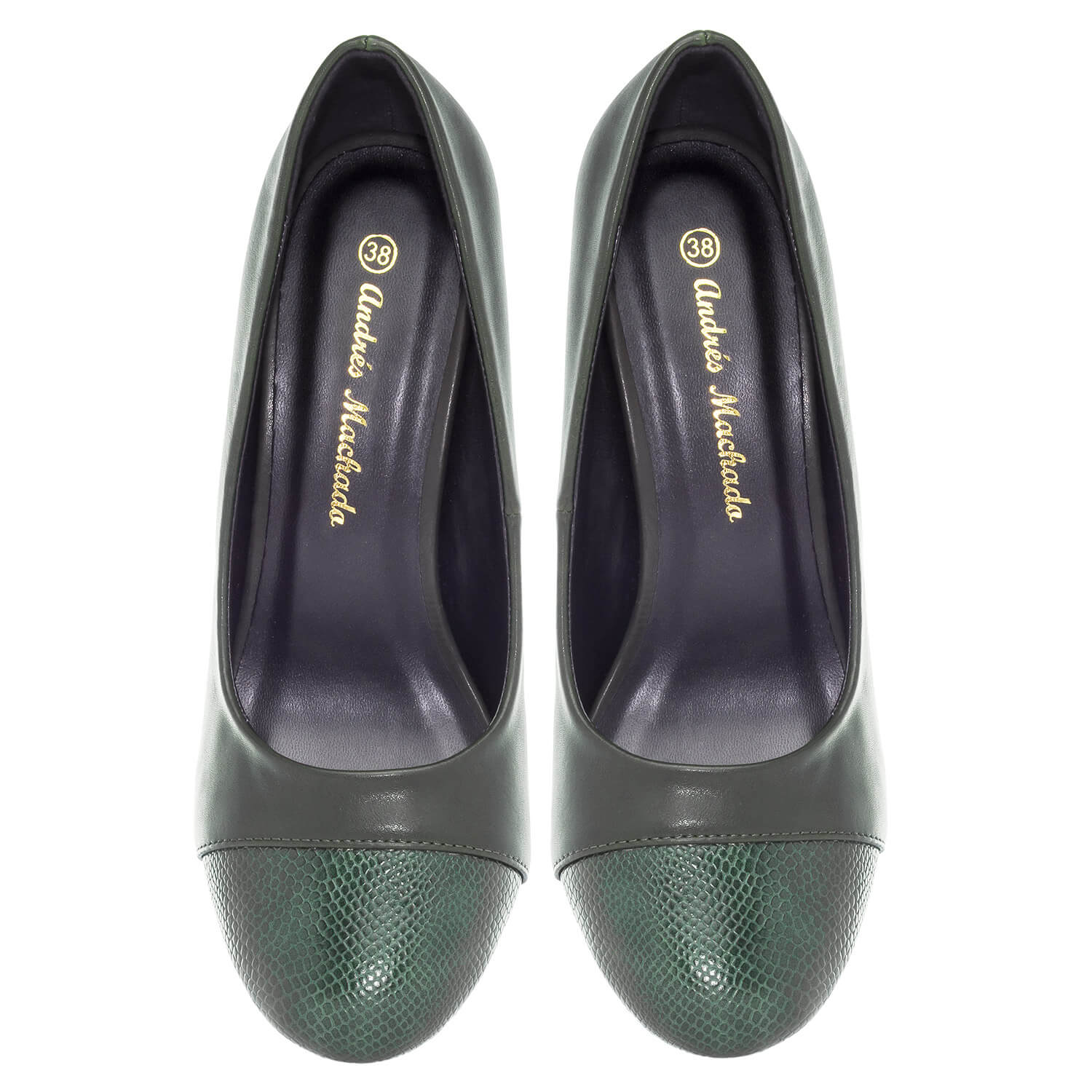 Green faux Leather Pumps