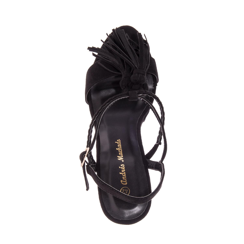 Antilop sandale na platformu sa ukrasnim detaljima, crne