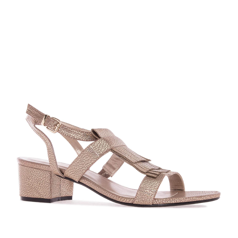 Sandale sa niskom štiklom, zlatne