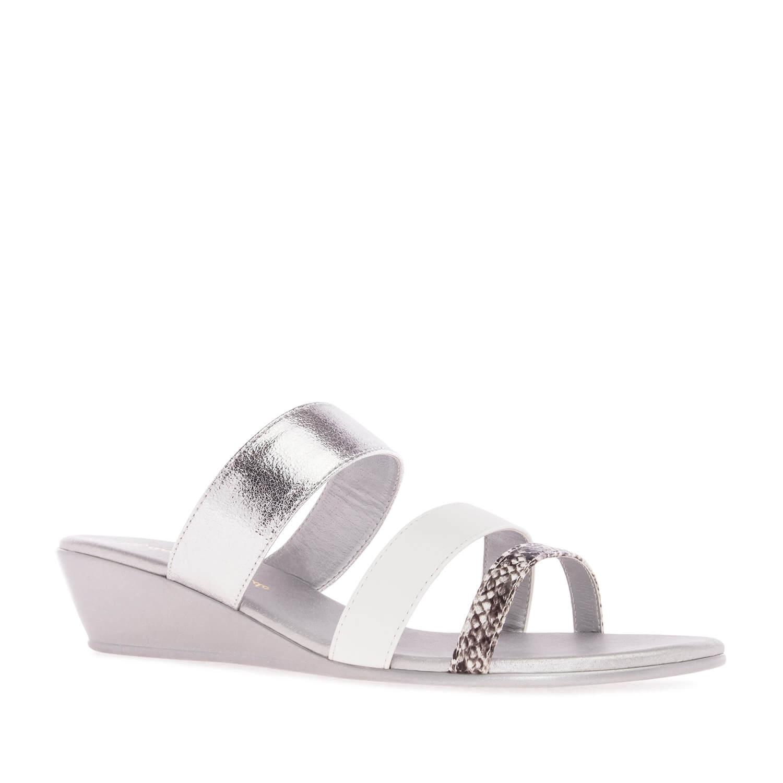 Papuče na platformu, srebrne