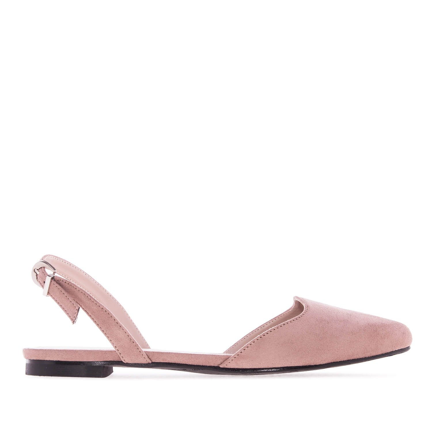 Slingback Ballet Flats in Nude Suede