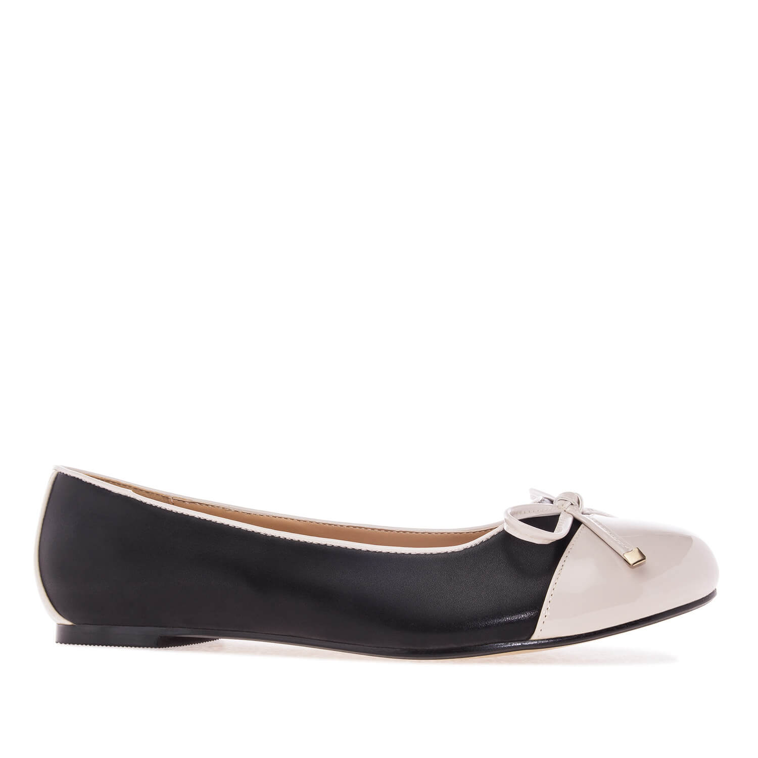 Black & Beige faux Leather Ballet Flats
