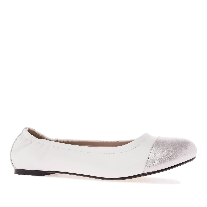 Dvoubarevné baleríny elastické. Bílá, stříbrná.